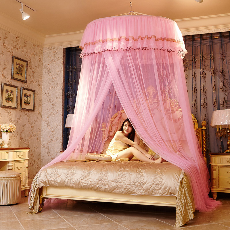 Mosquito net hanging ceiling dome double circular chuck for Round hanging porch bed