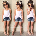 New Summer Children's Clothes Europe and The United States White Condole Belt + Lace Denim Shorts Two Pieces Kids Clothing Sets