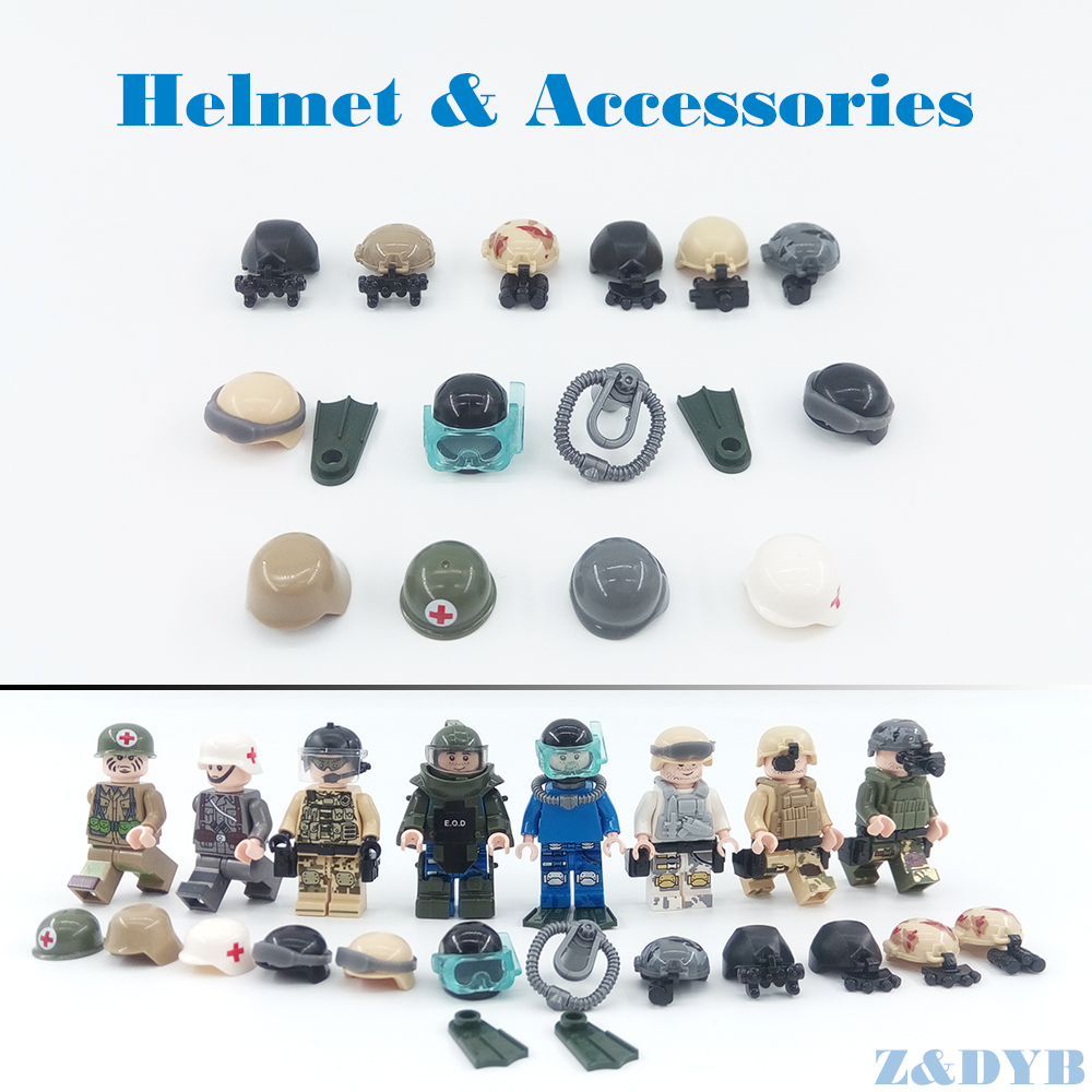 DIY Accessories Helmet Night Vision EOD MOC Compatible Legoed Figures Army Soldier Military Kits Weapon WW2 Building Block Toys