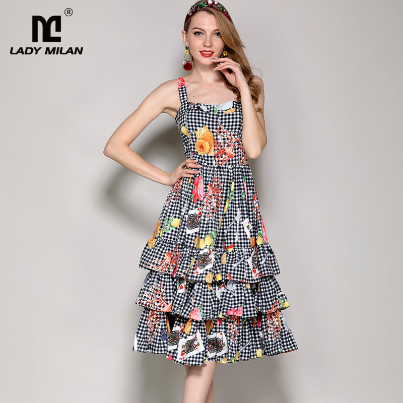 New Arrival Womens Spaghetti Straps Plaid Cartoons Prined Tiered Ruffles High Street Fashion Holiday Casual Dresses