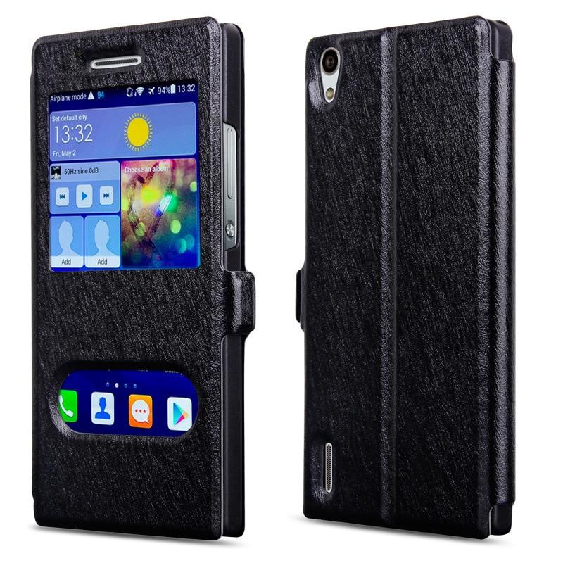 Original märkesfodral för Huawei P7-fodral med fönster av - Reservdelar och tillbehör för mobiltelefoner