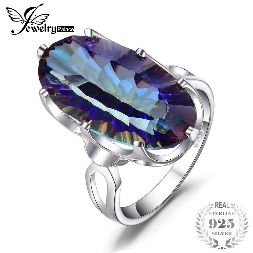 JewelryPalace 8ct Markante Regenbogen Feuer Mystic Topaz Ring Für Dame Geburtstag Geschenk. Solide 925 Sterling Silber Größe 6 7 8 9