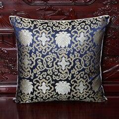 Винтажная квадратная большая подушка для дивана, стула, автомобиля, Высококачественная декоративная шелковая парчовая Подушка для спины 40x40 43x43 40x50 50x50 60x60 см - Цвет: Тёмно-синий