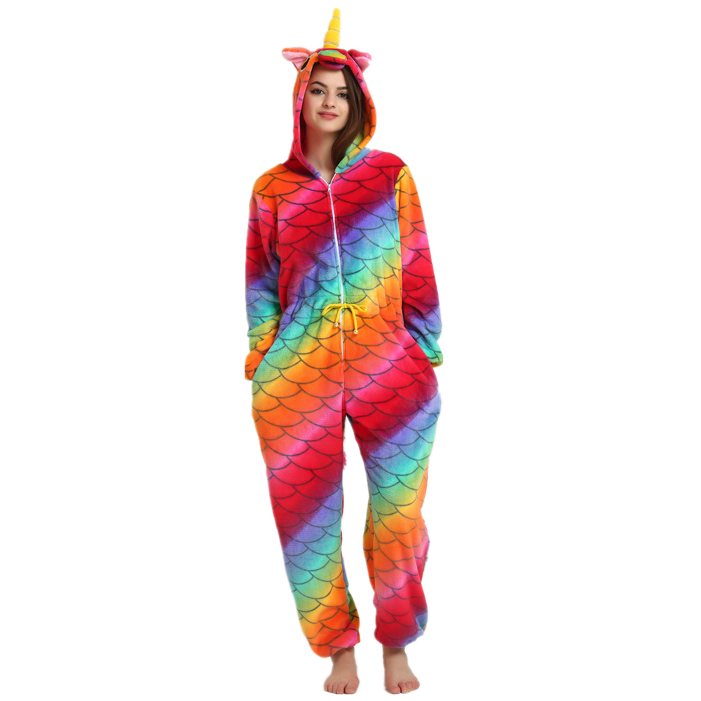Unisex Mermaid Costumes Animal Onesies Pajamas Onepiece Halloween Women Unicorn Costume ...