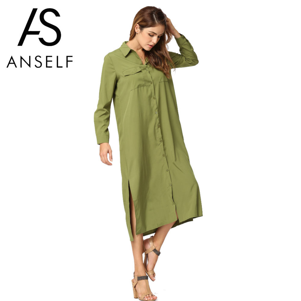 Anself fashion autumn women shirt dress turn down collar Women s long sleeve shirt dress