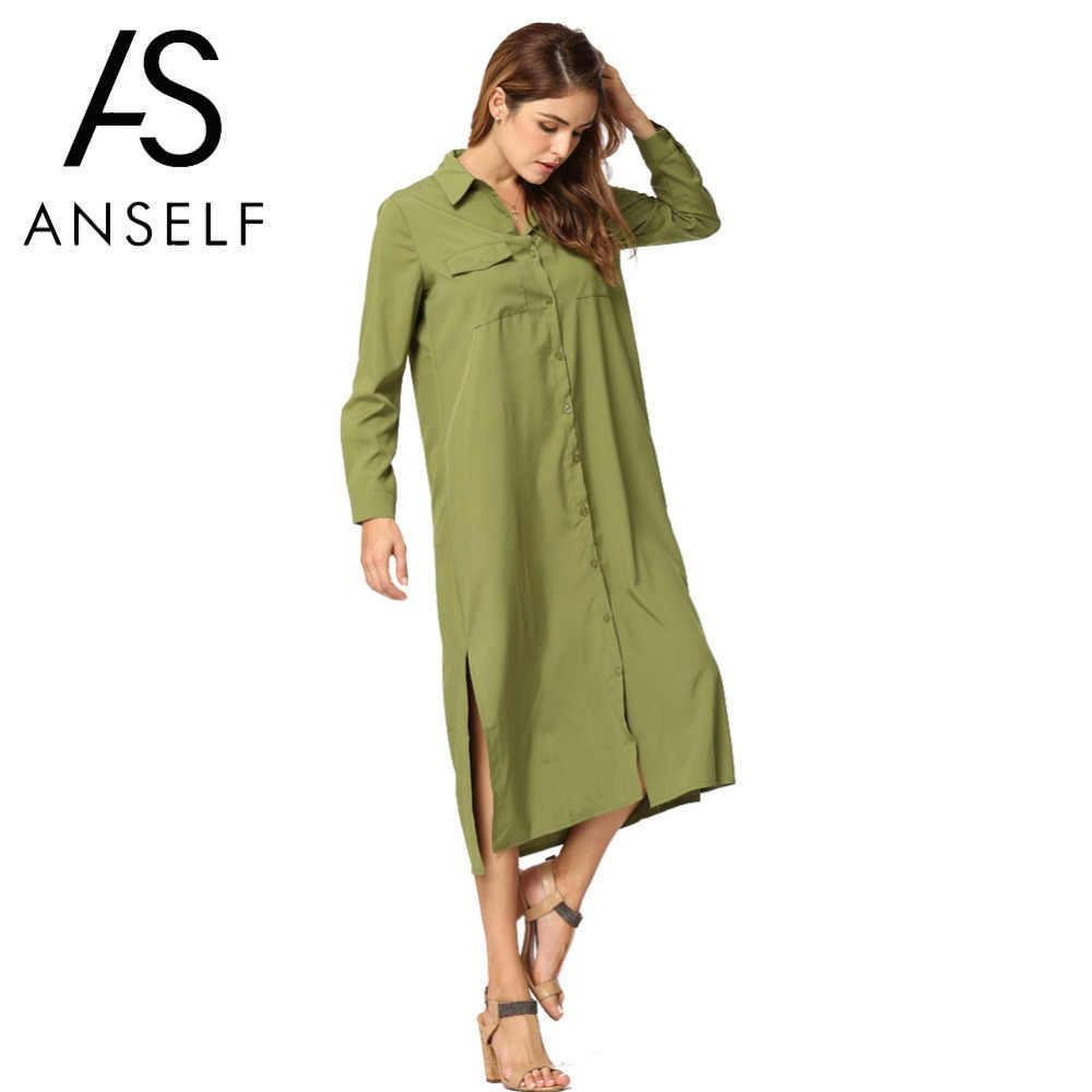 a5a1e1e8f05 Anself мода осень Для женщин платье-рубашка с отложным воротником с  длинными рукавами рождественское платье