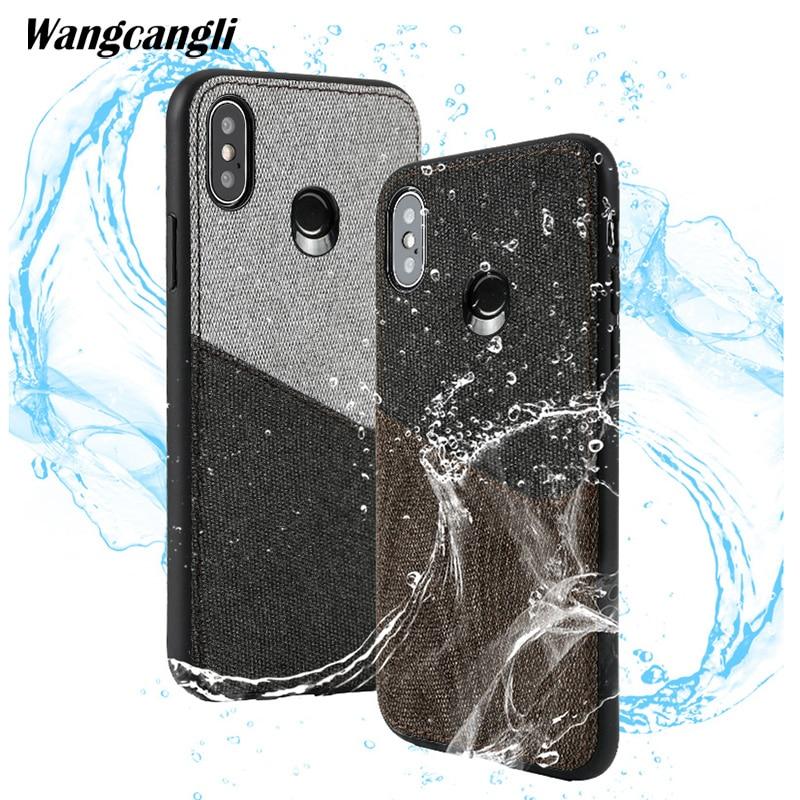 Wangcangli Custo mi zed en cuir toile couture carte tout compris mobile téléphone cas pour xiaomi mi mi x2s shatter- résistant shell