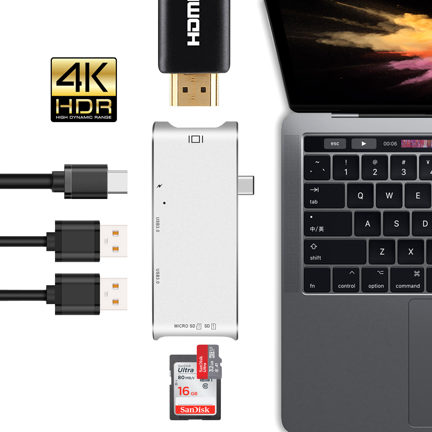 GOOJODOQ USB Type C Hub To HDMI Adapter 4k Dock Dongle Adapter Combo With SD/Micro SD Card Reader for MacBook Pro thunderbolt 3