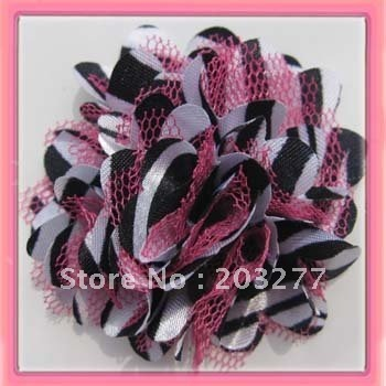 Wholesale -36pcs/lot   7 colors for your choose 2'' zebra Satin mesh silk flowers without hair clip