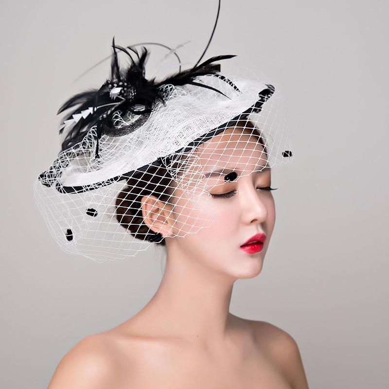 3a71d7b1cc6 Black white Fascinators for women Elegant feather hair Fascinator Hat  Cocktail Dinner Party Headwear Hair clip hair accessories-in Women s Hair  Accessories ...