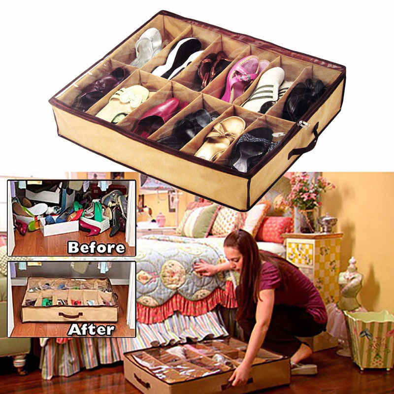 Clothing Wardrobe Storage New 12 Pairs/Grids Transparent Shoes Storage Organiser Space Saving Under Bed Shoe Hanger