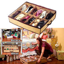 Clothing Wardrobe Storage New 12 Pairs/Grids Transparent Shoes Storage Organiser Space Saving Under Bed Shoe Hanger(China)