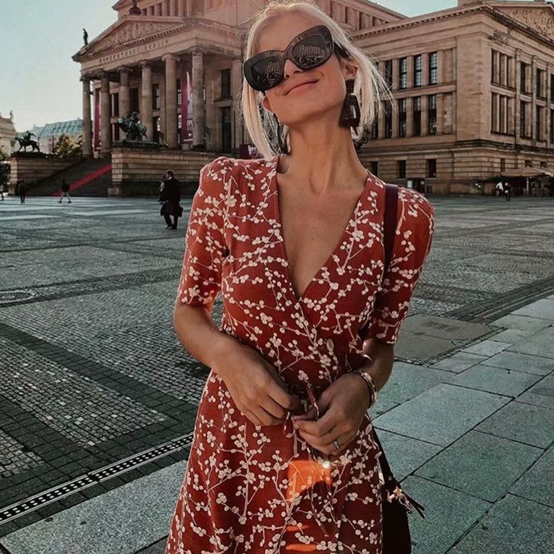 Summer women dress elegant vintage beach dress short sleeve causal sexy wrap long dress boho korean vestidos