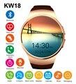 Bluetooh kw18 smart watch heart rate monitor sim apoio tf cartão smartwatch para iphone samsung huawei engrenagem s2 android smartwatch