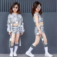 Niños lentejuelas salón moderno Jazz hip Hop Dancewear trajes Set Tops  pantalones para Niñas Ropa de baile partido trajes 52c83c0d761