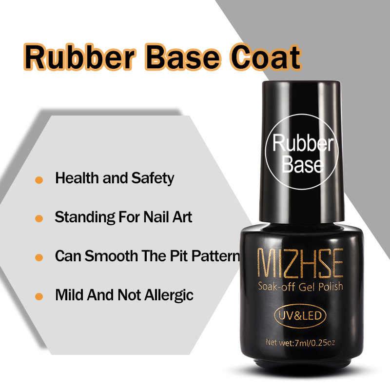 MIZHSE 7 мл резиновая основа и верхнее покрытие 2 шт гель лак для ногтей Полупостоянный закаленный гель для гель лак для ногтей искусство длинный последний гель