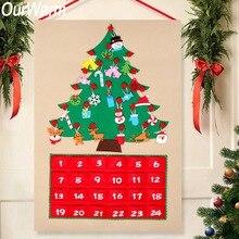 Теплая Рождественская елка фетр Адвент календарь обратный отсчет на Рождество Домашний Адвент календарь вечерние вечеринка украшение 60×90 см