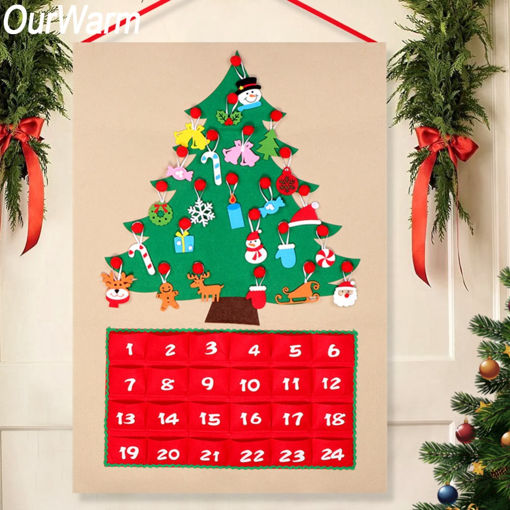 OurWarm Weihnachten Baum Fühlte Advent Kalender Countdown zu Weihnachten Hausgemachte Advent Kalender Party Dekoration 60x90 cm