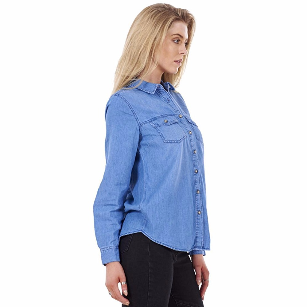 4a54f4a36d0 LIVA GIRL Blue Denim Shirt Ladies Casual Womens Button Up 100% Cotton Long  Sleeve Denim Shirts-in Blouses   Shirts from Women s Clothing on  Aliexpress.com ...