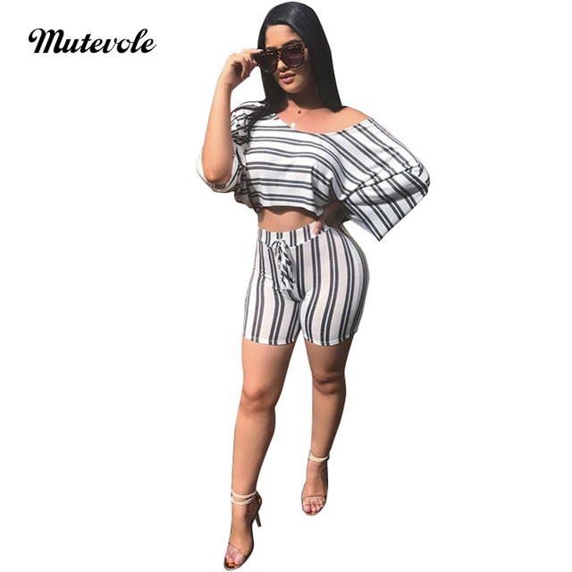 Mutevole Casual Summer Two Piece Set Women Striped Slash Neck Crop Top and Short  Set Sexy Half Sleeve Ladies 2 Piece Outfits 1f09a47d28