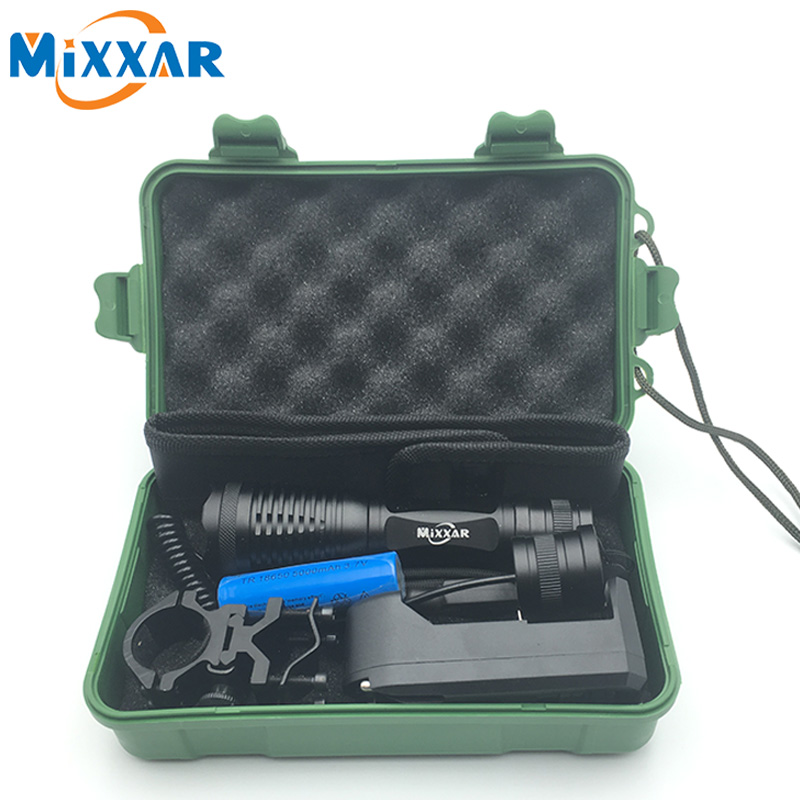CREE XM-L T6 L2 led tactical flashlight 9500Lm Hunting torch Adjustable lanterna + 18650 battery + Remote Switch+Charger