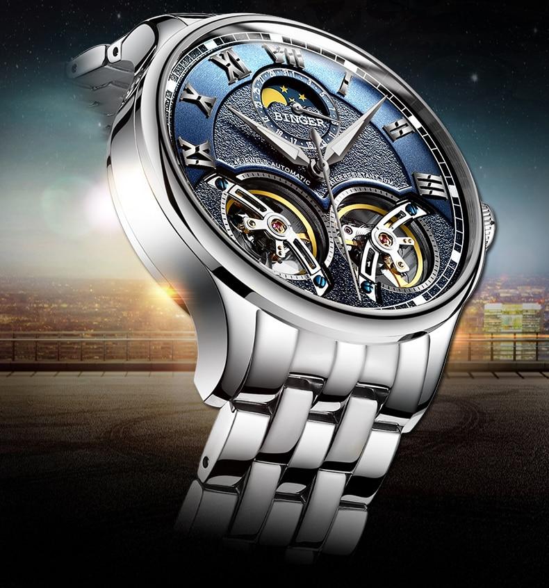 e393ebb64c4 Dos Homens Originais de Marcas de Relógios Suíça BINGER duplo Turbilhão  Relógio Automático Auto-Vento Homens Moda relógio de Pulso Mecânico