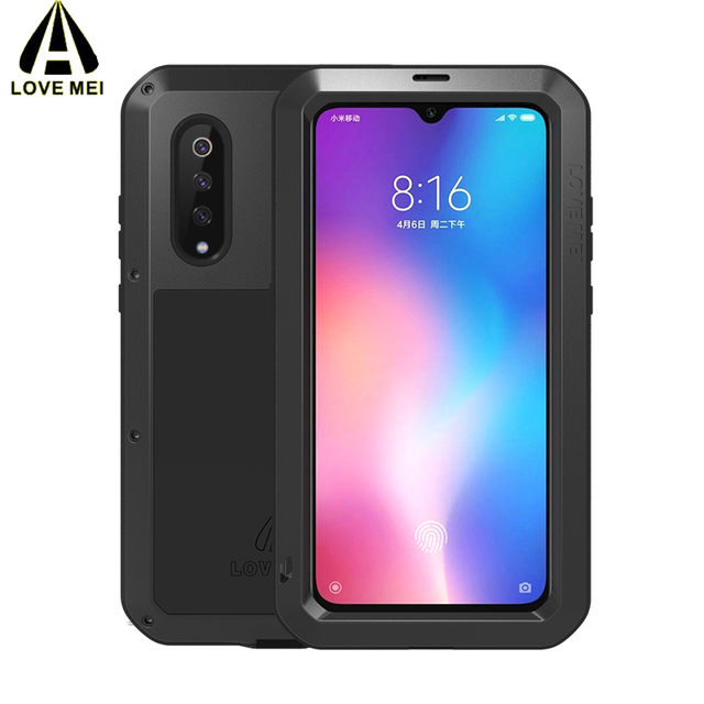 LOVE MEI For Xiaomi Mi 9 Case Gorilla Glass Life Waterproof Shockproof Metal Full Protectve Case for Xiaome mi9 phone cover case