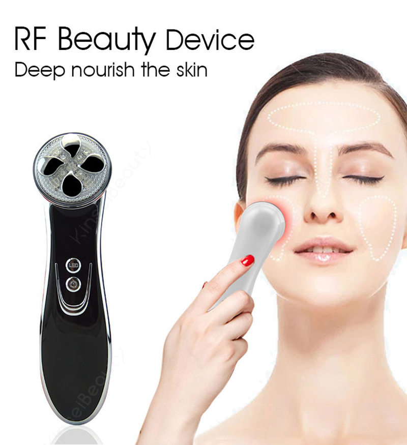 Multifunction 5 In 1 LED Light Photon Irradiation Face Skin Care Massager RF Lifting Tighten EMS Slimming Wrinkle Therapy Device