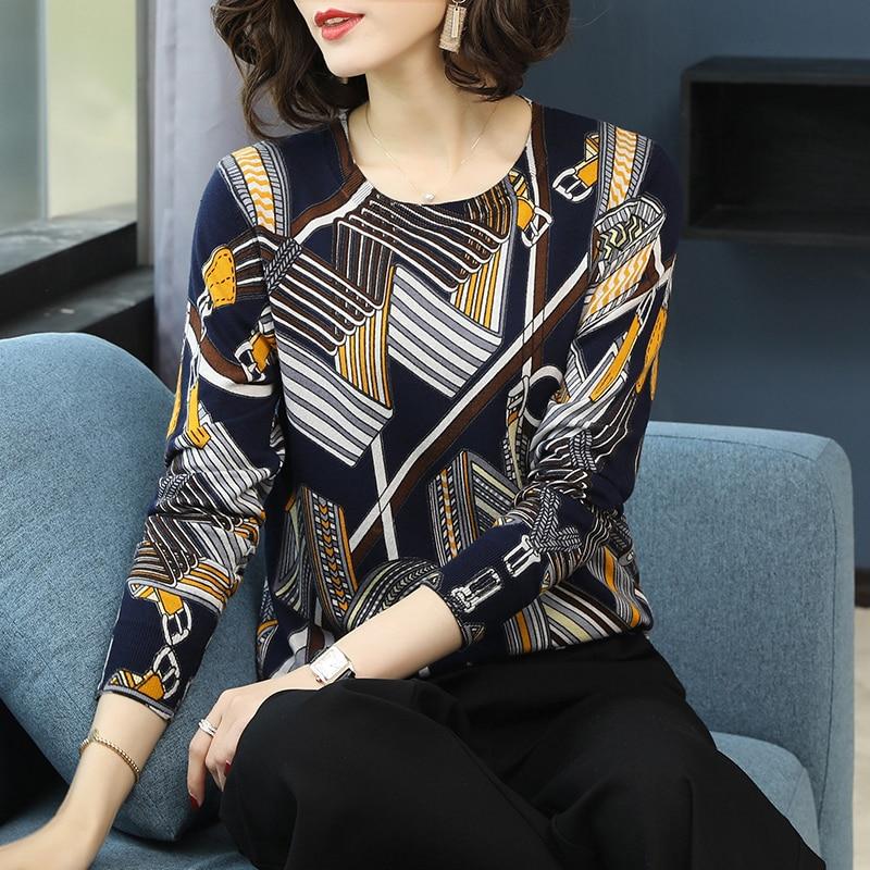China mature female style love print sweater