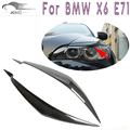 X6 E71 Carbon Fiber Front Headlight Eyelids For BMW X6 E71 2008 2009 2010 2011 2012 2013  Eyebrows Covers