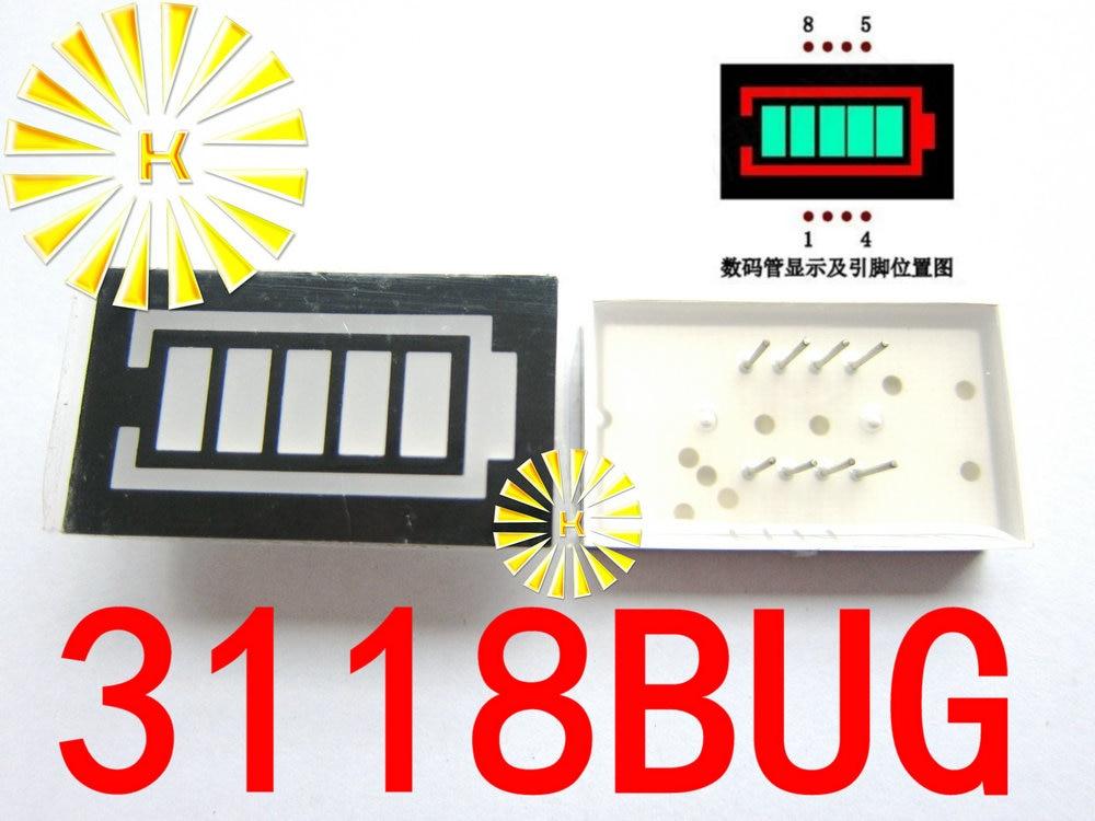 5PCS X 5 Segment Battery Style LED Digital Tube Display Emerald Green LED Inner + Red LED Outer 3118BUG