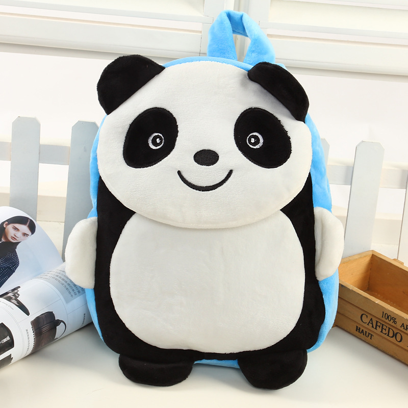 Children's Soft Plush Backpacks Kids Cute Zoo Panda Child Pink Food Storage Bag Baby Shoulders Bags Kindergarten for Gifts lovely panda in pink dress big 90cm plush toy panda doll soft throw pillow proposal birthday gift x030