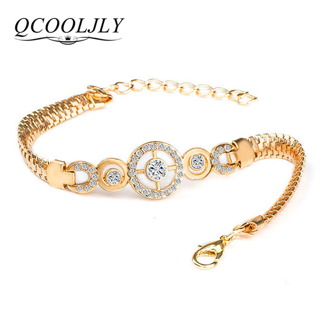 QCOOLJLY Luxury Round Crystal CZ Hand Chain Bracelets for Women Gold Color Twisted Bangle & Bracelets For Women Wedding Jewelry