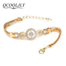 9ad5e3c63314 QCOOLJLY lujo ronda Crystal CZ mano cadena pulseras para mujeres oro Color  trenzado brazalete y pulseras para las mujeres joyerí.
