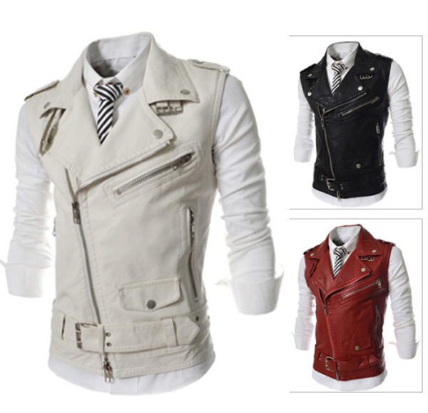 Free shipping new fashion zipper men's personality more than a short paragraph Slim lapel Vests