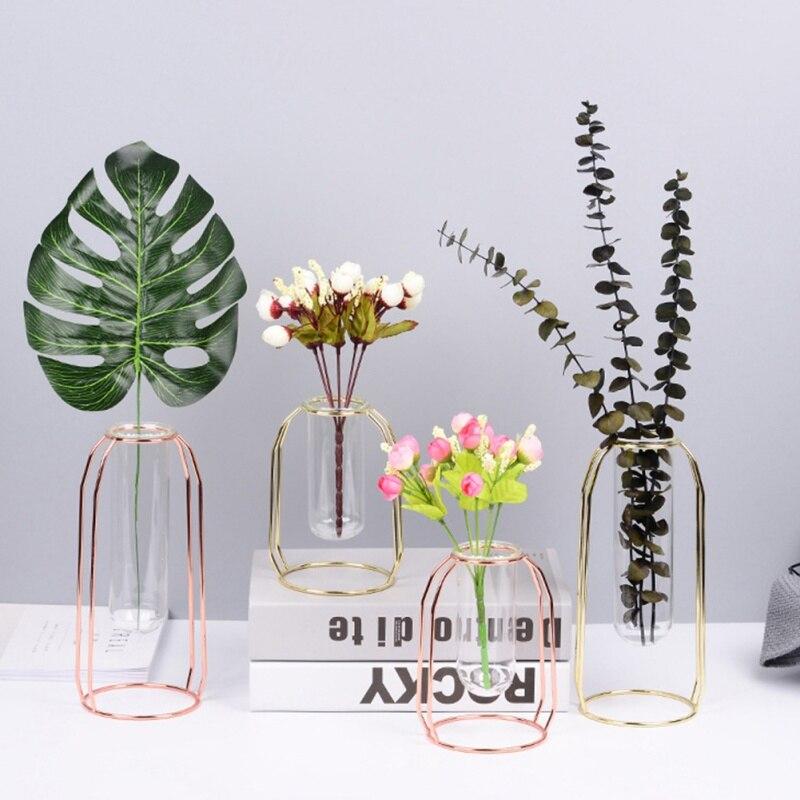 Rose Gold Vase 1Set Nordic Style Glass Iron Art Shape Flowerpot Home Wedding Decoration Accessories