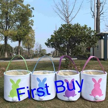 Buy easter gift baskets and get free shipping on aliexpress 10pcslot canvas easter basket tote bags kids gift bucket negle Image collections