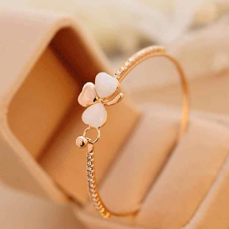 New Fashion Jewelry Single Row Full Rhinestone Opal Crystal Bows Love Heart  Bracelet Bangles