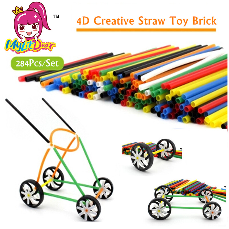 MylitDear 284Pcs 4D Creative Straw Toy Brick DIY Assembled Building Blocks Plastic Colorful Education Straw Fight Inserted Toys