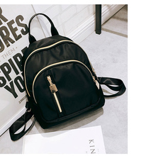 Fashion Canvas Small Backpack Solid Color Gold Zipper School Bags for Teenage Girls Travel Shoulder Black