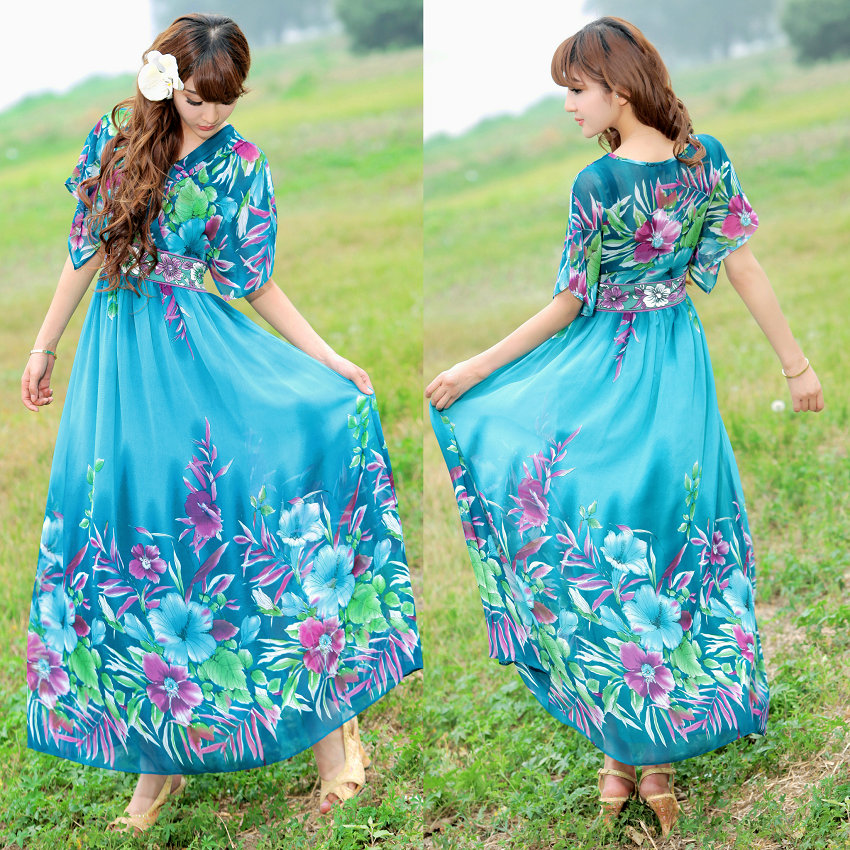 2014 spring summer chiffon Itay bohemia 2xl plus size full dress blue maxi formal evening gowns dresses - Beauty Dresses Store store