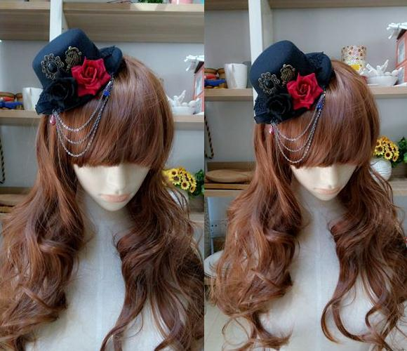 471f7232658 DIY Alice in Wonderland Inspired Lolita Cosplay Mini Top Hat Black Red Rose  Flower Party Hats