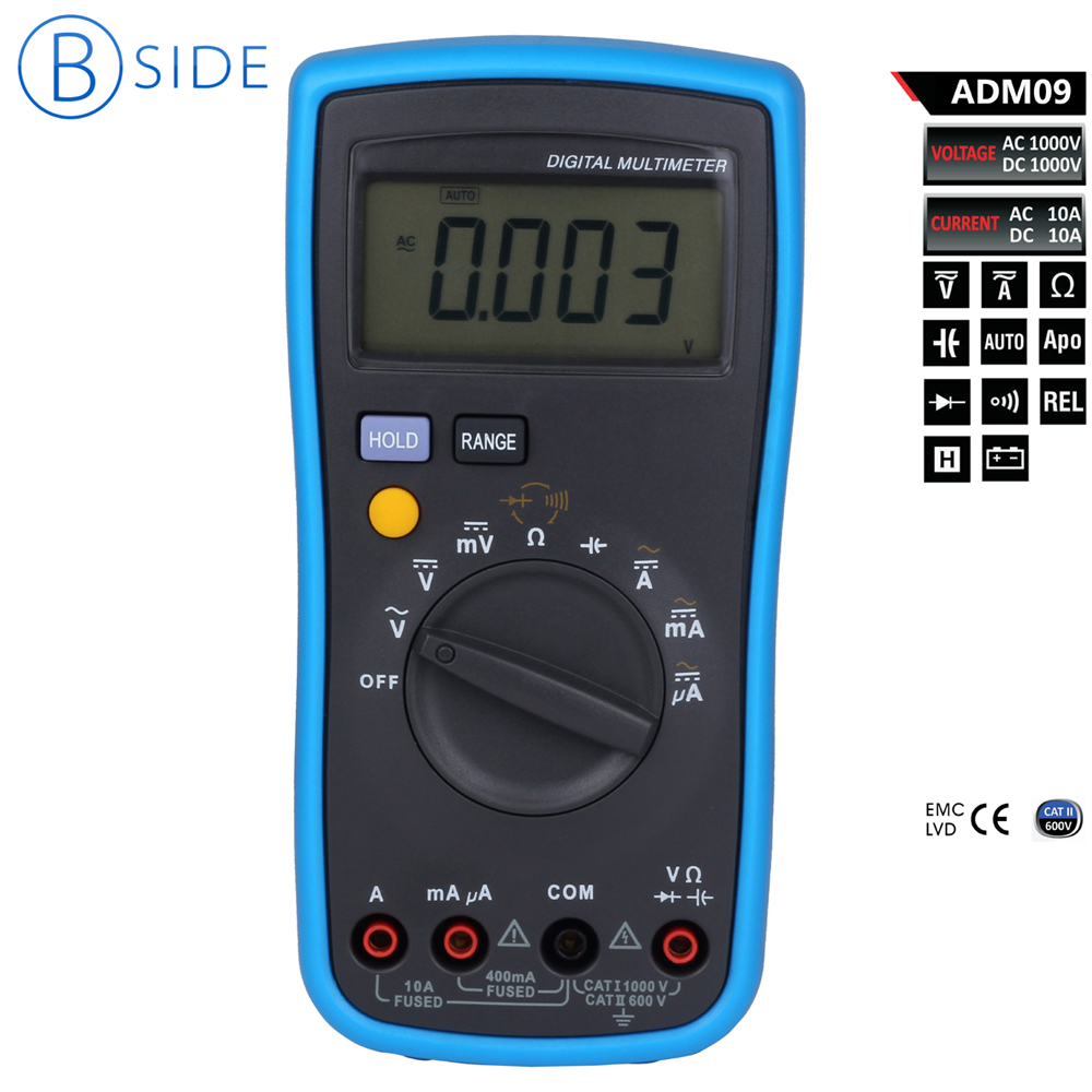 Bside adm09 AC/DC Auto & Manual Ranging Digital Multimeter Display 4000 Counts CAT II 600V 1 pcs mastech ms8269 digital auto ranging multimeter dmm test capacitance frequency worldwide store