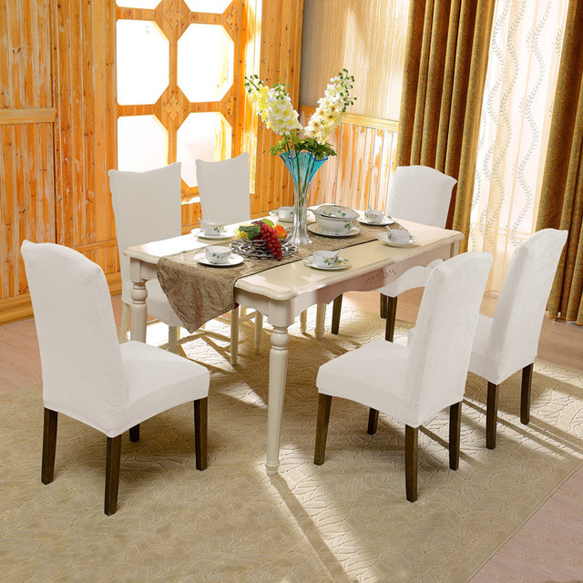 Subrtex 4 PCS Jacquard Stretch Dining Room Chair Slipcovers With Cozy Appearance