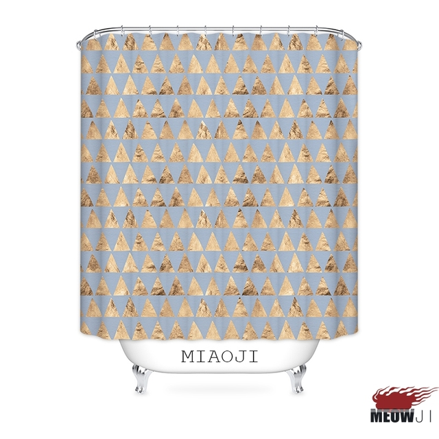 MIAOJI Geometric Decor Collection Vintage Style Printed Polyester Fabric Bathroom Shower Curtain With