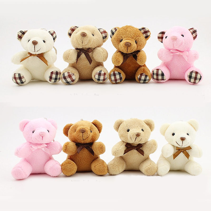 8CM Teddy Bear Cute Plush Toys Bag Keychain Car Key Holder For Pendant Doll Kids Toys Stuffed Animals Fluffy Bear Toy I0109