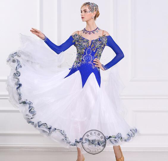 Best Price customize blue white embroidery adult Ballroom