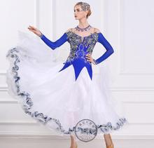 customize blue white embroidery adult Ballroom Fox trot Quick step tango Modern tango Waltz competition Dance Stage Dance Dress