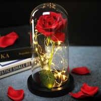 Romantik Ewige Leben Blume Glas Abdeckung Schönheit und Biest Rose LED Batterie Lampe Geburtstag Valentinstag Mutter Geschenke Hause decor