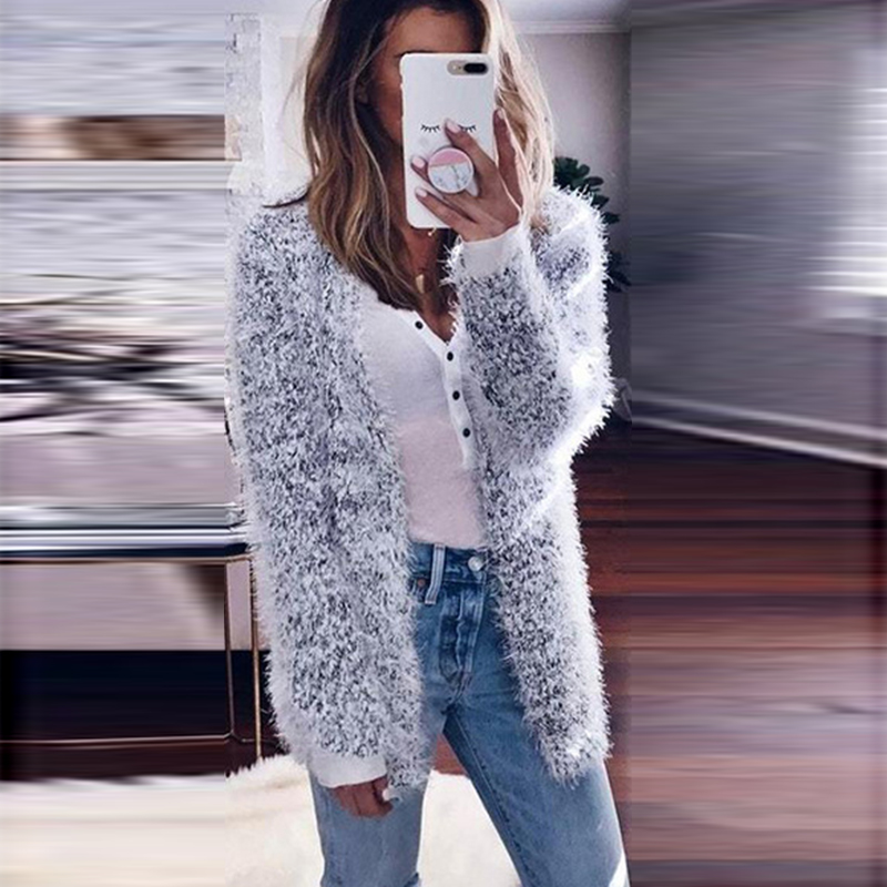 2018 Autumn Long Top Cardigans Women Knitted Sweaters Female Long Sleeve Shirt Coat Lady Open Front Casual Outwear Pull Femme